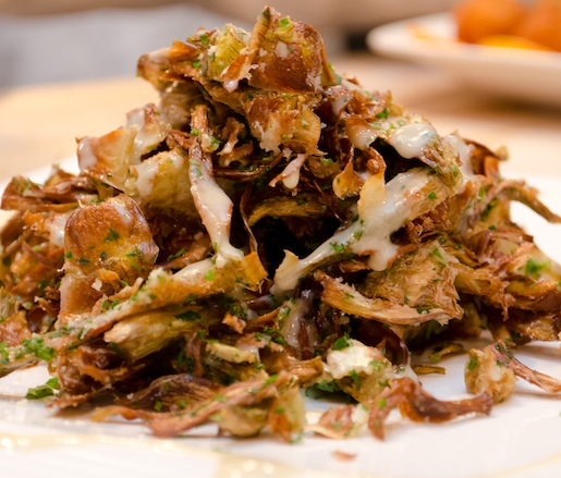Carciofi > Crispy Organic Baby Artichokes with Garlic, Olive Oil, and Gorgonzola