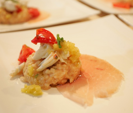 Creamy Carolina Gold Rice with Peekytoe Crab, Marinated Baby Tomatoes, Preserved Lemon, and Benton's Ham