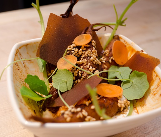 Roasted Carrots with Mole Poblano, Yogurt, and Watercress