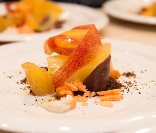 Heirloom Carrots with Pumpernickel, Lime Zest, and Spiced Yogurt