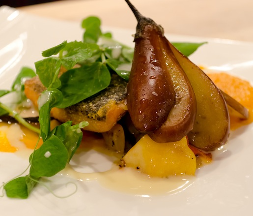 North Carolina Coastal Catch with Greene County Sweet Potato Purée, and Goldfinch Gardens Late Summer Vegetable Ragoût