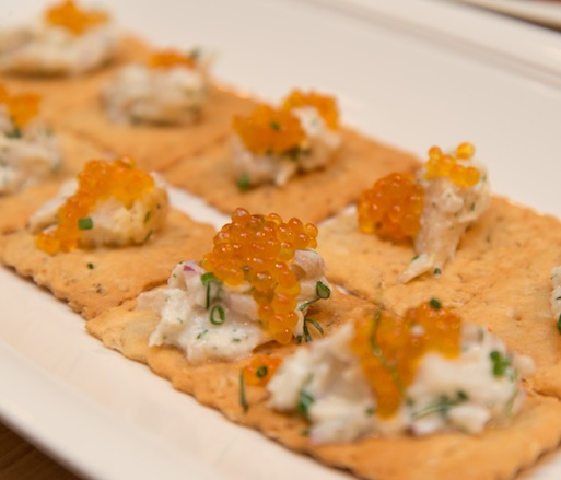 Smoked Catfish with Lemon–Herb Crème Fraîche and Sunburst Trout Roe on Oatmeal Hardtack