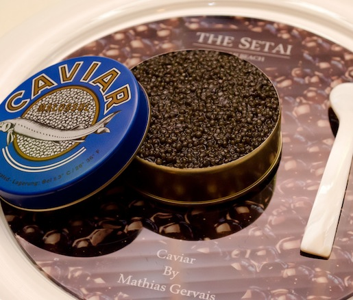 e Caviar > Layers of Dungeness Crab, Fine Lobster Jelly, Crème Fraîche, and Russian Osetra Karat Amber Caviar
