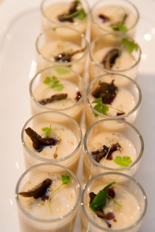 Celery Root Soup with Crispy Maitake Mushrooms, Pumpkin Seed Oil, and Celery Leaves
