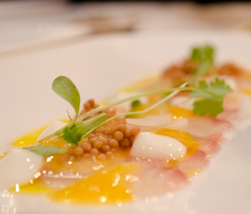 Fluke Ceviche with Buttermilk, Mustard, and Passion Fruit Juice