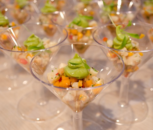 Grilled Conch Ceviche with Calabaza, Scotch Bonnet Chiles, and Florida Avocado