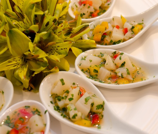 Bahamian Conch Ceviche with Cilantro, Tomatoes, Peppers, and Sour Oranges