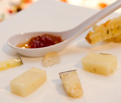 Imported Italian Cheeses > Lagrein, Sottocenere al Tartufo, Testun al Barolo, and Rosemary Pecorino with Fig Bread and Honey