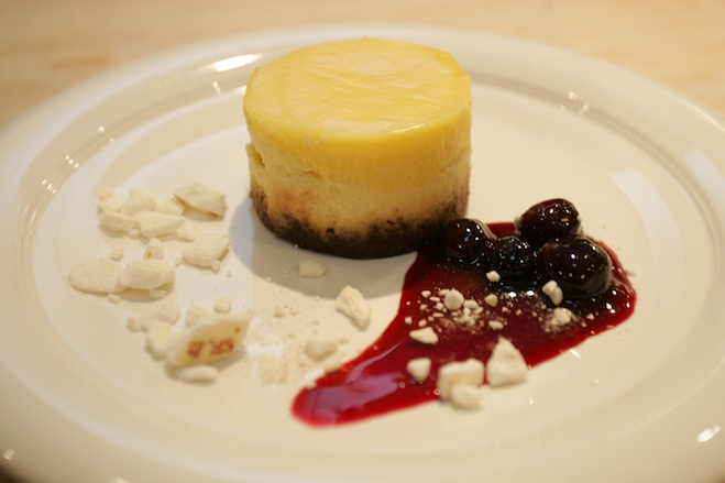 Navarro Vineyards Goat Cheese Cheesecake with Meyer Lemon Curd and Ginger Cookie Crust