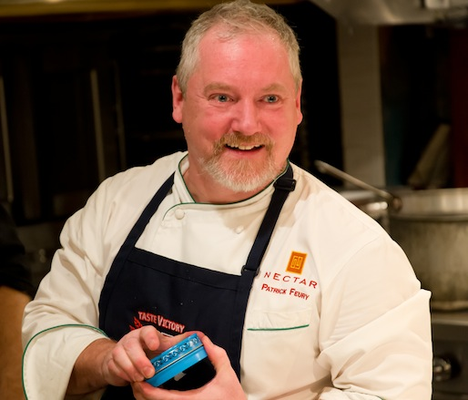 Chef Patrick Feury with Osetra Caviar in the Beard House Kitchen