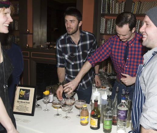 Chef William Horowitz and members of his team making drinks at the Beard House