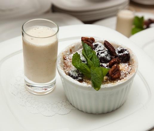 Cherries Jubilee–White Chocolate Bread Pudding with Coquito Ice Cream