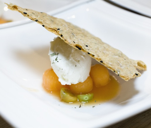 CKC Farms Chèvre with Texas Honey, Melon, and Kalonji Butter Crackers