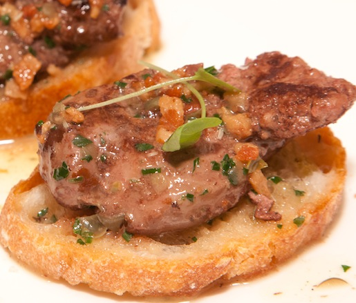 Chicken Livers with Bacon, Shallots, and Capers