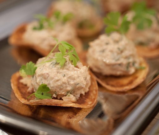 Pulled Chicken Salad on Toasts