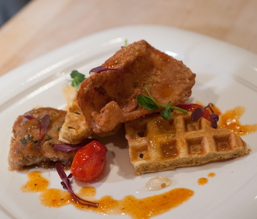 Chicken and Waffles > Chicken Confit Terrine with Crispy Chicken Cracklings; Pan Jus Reduction; Garlic, Oregano, and Cornmeal Waffles; and Summer Vegetables