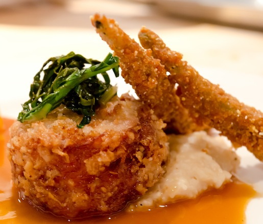 Fried Ashley Farms Poulet Rouge Chicken with Lively Up Farms Collard Slaw, Old Guilford Mills White Corn Grits, Ashe County Hoop Cheddar, Crispy Okra, and Pan Gravy