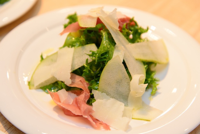Chicory Salad with Country Ham, Pears, Pecorino, and Dogfish Head Midas Touch Vinaigrette