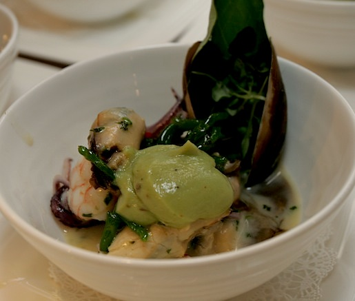 Poached and Chilled Nantucket Bay Scallops, Sweet Maine Shrimp, Dutch Island Mussels, and Rhode Island Squid with Sea Beans, Avocado, Chilies, Crayfish Emulsion, and Micro-Herbs