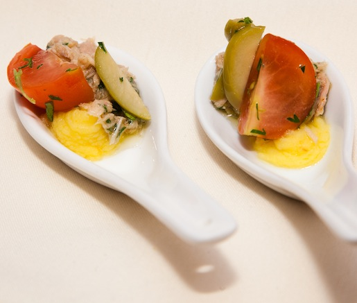 Causa de Atún > Chilled Mashed Potatoes with Tuna, Lime, and Chilies (Peru)
