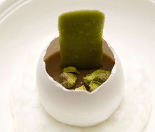 Deep Chocolate Eggshell > Gianduja Chocolate Custard–Filled Eggshell with Pistachio Crunch