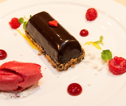 Dark Chocolate–Red Berry Mousse with Passion Fruit Sorbet and White Chocolate Cream