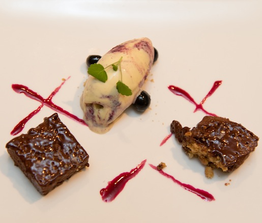Chocolate Pâté with Anise Ice Cream, Blueberry Caviar, and Rioja Sauce