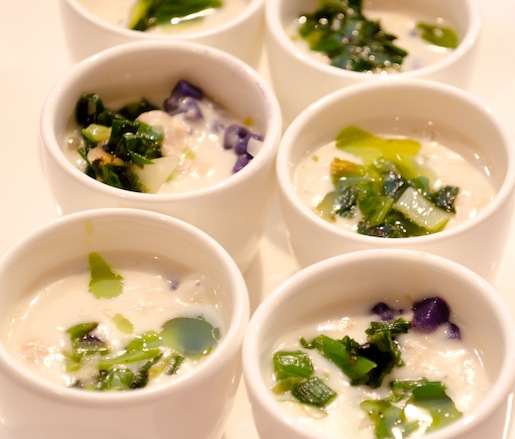 Tomales Bay Manila Clam Chowder with Roasted Scallions