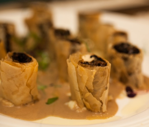 Shiitake, Oyster, and Crimini Mushroom Cigars with Goat Cheese, Herbs, Phyllo Dough, and Porcini Sauce