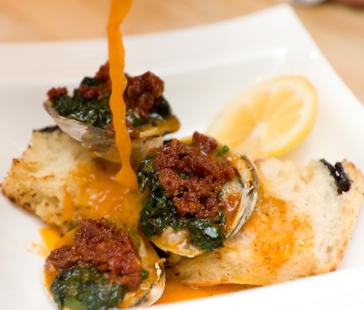Roasted Tuckernuck Cherrystone Clams with Herb Jam and Chorizo Butter
