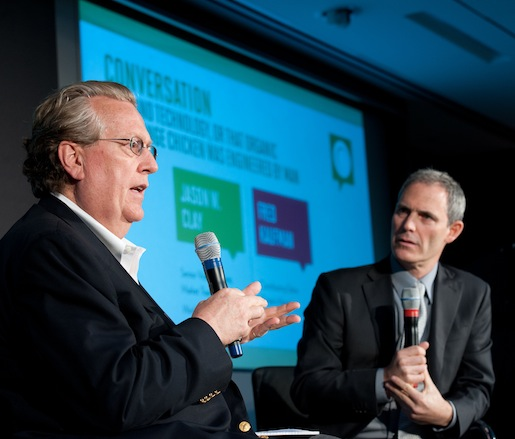 JBF Leadership Award winner and World Wildlife Fund senior vice president Jason Clay and journalist Fred Kaufman converse about food and technology