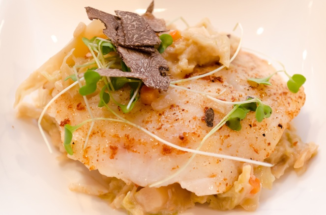 Pan-Seared Black Grouper with Savoy Cabbage, White Cannellini Beans, and Black Truffles