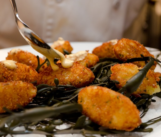 Salt Cod Cakes with Green Chili–Paprika Mousse