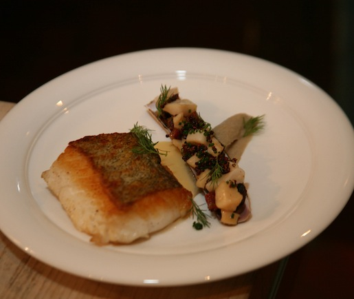 North Atlantic Cod with Coastal Buttermilk–Dill Cream, Smoky Sunchokes, and Cape Cod Shellfish