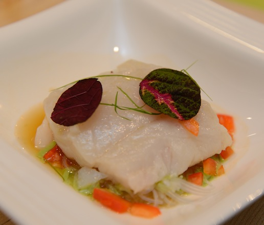 Sop Ikan Pelangi > Poached Chatham Cod with Galangal, Cilantro, and Chile Fumet, Rice Noodles, Mizuna, and Micro-Lemongrass