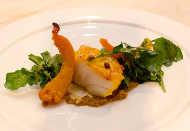 Rhode Island Cod with Winter Squash, Hazelnut Picada, and Saffron