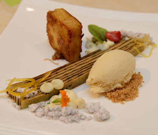 Colenak > Grilled Sweetened-and-Fermented Cassava, Spiced Layer Cake, Coconut Custard, and Gula Jawa Ice Cream