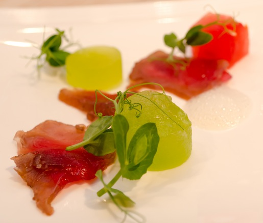Tuna Bresaola with Compressed Melon and White Pepper Emulsion
