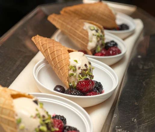 Ode to the Master Asador > Cassis-Macerated Berries with Smoked Milk Gelato, Waffle Cone, and Pistachios