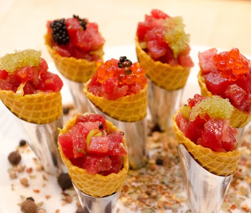 Curry-Scented Bonito, Tobiko, and Savory White Chocolate Cones