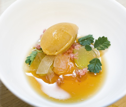 Chilled Country Ham Consommé with Roasted Cantaloupe Sorbet and Summer Melons