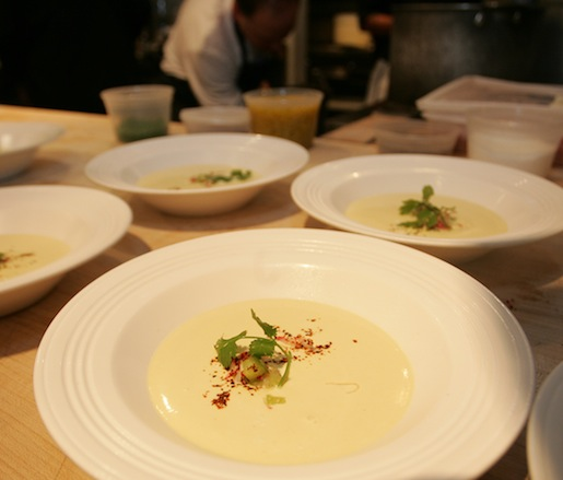 Chilled Corn–Coconut Soup with Tomatillos, Radishes, Cilantro, and Aleppo Peppers