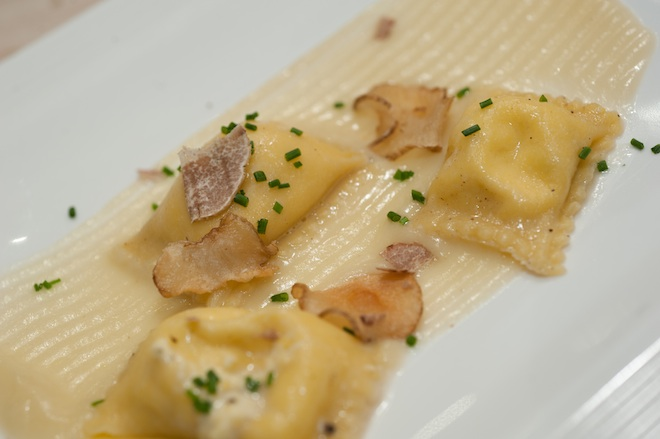 Corn Tortelli with Sunchokes, White Truffles, and Chives