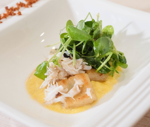 Cornbread Gnocchi with Stone Crab, Corn Pudding, Brown Butter, and Pea Tendrils