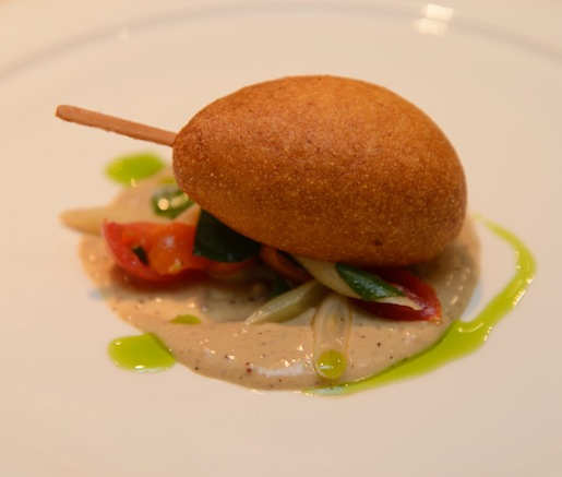 Duck Corn Dog with Foie Gras Mustard, Wax Beans, and Cherry Tomatoes