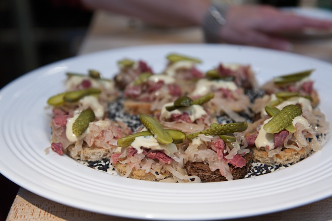 Corned Beef Tongue with Kraut, Pickles, and Mustard–Mayonnaise on Rye Points
