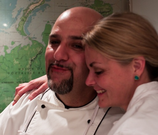 Chefs Lorenzo Polegri and Kim Brookmire after tasting dessert