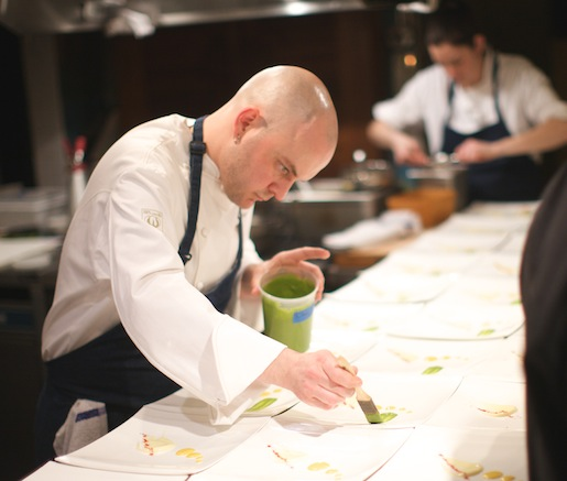 Chef David Belknap plating in the Beard House kitchen