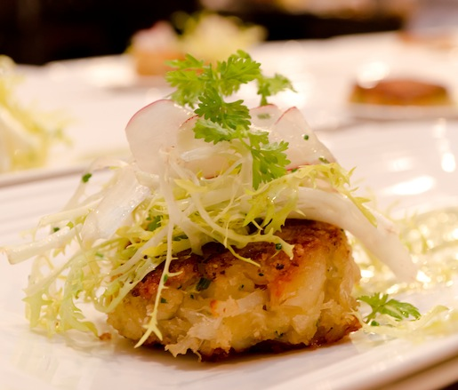 Dungeness Crabcakes with Chervil Tartar Sauce, Frisée, and Radishes