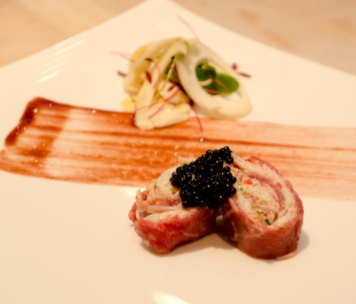 King Crab and Hearts of Palm–Stuffed Prime Certified Angus Beef® Teras Major Carpaccio with Local Microgreen Salad and Truffle Caviar
